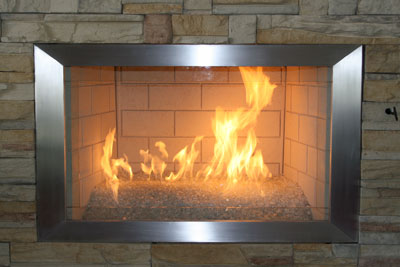 Elegant fireplace frame metal surrounds available in various metals