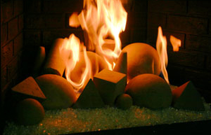 Decorative concrete objects for fireglass fireplaces