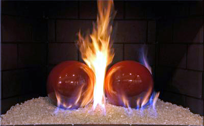 Terracotta fireballs for fireglass fireplace designs
